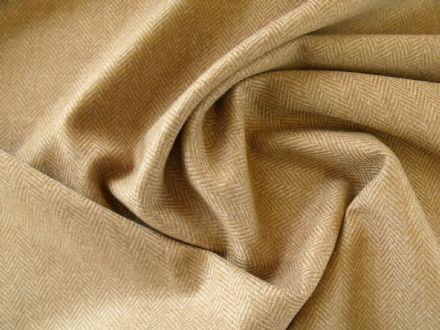 Dark Beige Wool Herringbone Fabric AB59